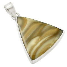 Natural grey striped flint ohio 925 sterling silver pendant d14872
