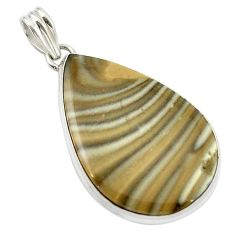 Clearance Sale- Natural grey striped flint ohio 925 sterling silver pendant jewelry d14874
