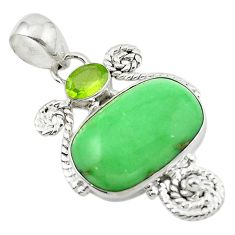 Natural green variscite peridot 925 sterling silver pendant jewelry d14898