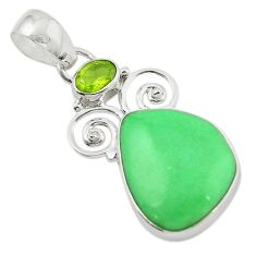 Clearance Sale- 925 sterling silver natural green variscite peridot pendant jewelry d14899
