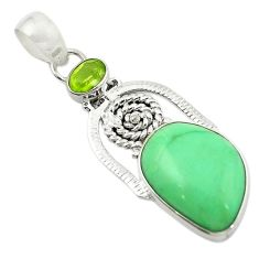 Clearance Sale- 925 sterling silver natural green variscite peridot pendant jewelry d14916