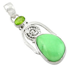 Clearance Sale- Natural green variscite peridot 925 sterling silver pendant jewelry d14917