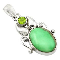 Natural green variscite peridot 925 sterling silver pendant jewelry d14919