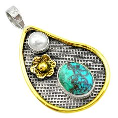 Victorian fine blue turquoise pearl 925 silver two tone pendant d16102
