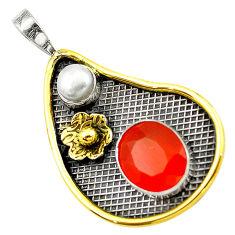 925 silver natural orange cornelian (carnelian) pearl two tone pendant d16109