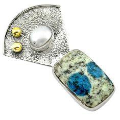 Victorian natural k2 blue (azurite in quartz) 925 silver two tone pendant d16138