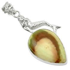 Clearance Sale- 925 silver natural brown imperial jasper pear fairy mermaid pendant d16170