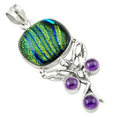 925 silver multi color dichroic glass angel wings fairy pendant jewelry d16180