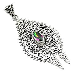 Clearance Sale- Multi color rainbow topaz 925 sterling silver pendant jewelry d16207