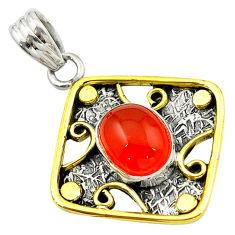Clearance Sale- Natural orange cornelian (carnelian) 925 silver two tone pendant d16217