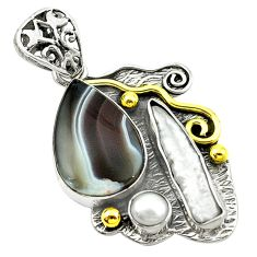 Victorian natural blue botswana agate 925 silver two tone pendant d16223