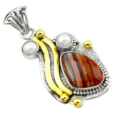 Victorian natural brown botswana agate 925 silver two tone pendant d16231
