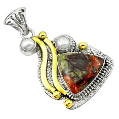 Clearance Sale- Natural multicolor rainforest rhyolite jasper 925 silver two tone pendant d16233