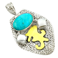 Victorian blue arizona mohave turquoise pearl 925 silver two tone pendant d16246