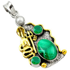 Clearance Sale- Natural green malachite (pilot's stone) 925 silver two tone snake pendant d16252