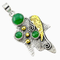 Clearance Sale- 925 silver victorian natural green chalcedony two tone pendant jewelry d16253