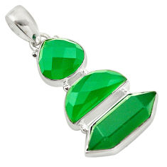 Natural green chalcedony 925 sterling silver pendant jewelry d16283