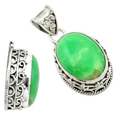 Clearance Sale- Natural green variscite 925 sterling silver pendant jewelry d16294