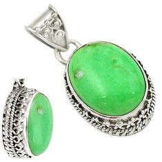 Natural green variscite 925 sterling silver pendant jewelry d16295