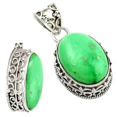 Clearance Sale- 925 sterling silver natural green variscite oval pendant jewelry d16296