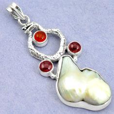 Clearance Sale- Natural white biwa pearl cornelian (carnelian) 925 silver snake pendant d16310