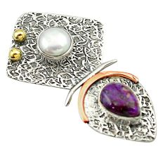 Clearance Sale- Victorian purple copper turquoise pearl 925 silver two tone pendant d16336