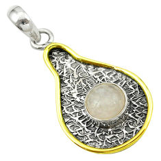 Clearance Sale- Victorian natural pink rose quartz 925 silver two tone pendant d16339