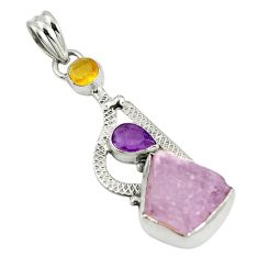 Natural pink rose quartz rough amethyst 925 silver pendant jewelry d17491