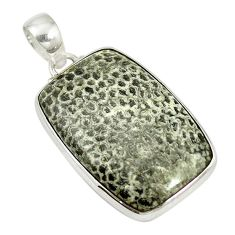 Natural black stingray coral from alaska 925 silver pendant d17523