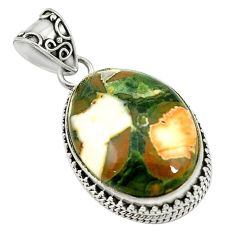 Natural multi color rainforest rhyolite jasper 925 silver pendant d17555