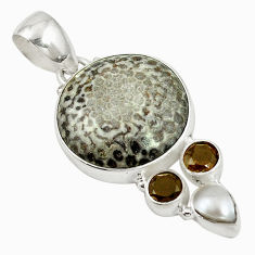 Natural black stingray coral from alaska pearl 925 silver pendant d17557