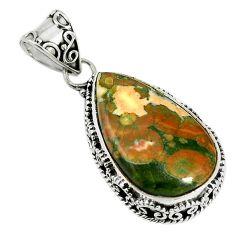 Natural multi color rainforest rhyolite jasper 925 silver pendant jewelry d17572