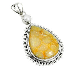 925 silver natural yellow fossil coral (agatized) petoskey stone pendant d17577