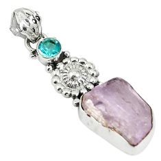 Natural pink rose quartz rough topaz 925 sterling silver pendant d17615