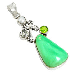 Clearance Sale- Natural green variscite druzy pearl 925 silver holy cross pendant jewelry d17621
