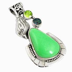 Natural green variscite druzy peridot 925 sterling silver pendant d17624
