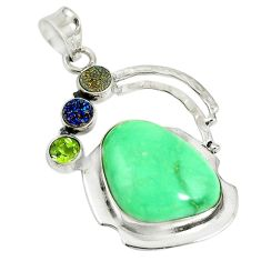 Clearance Sale- Natural green variscite druzy peridot 925 sterling silver pendant d17626