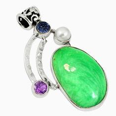Natural green variscite druzy pearl 925 sterling silver pendant d17628