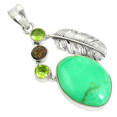 Clearance Sale- Natural green variscite druzy peridot 925 sterling silver pendant d17631