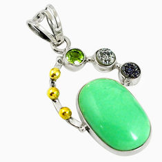 Clearance Sale- 925 sterling silver natural green variscite druzy peridot pendant d17632