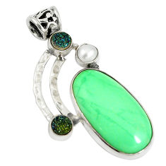 Clearance Sale- 925 sterling silver natural green variscite druzy pearl pendant jewelry d17635