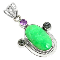 Clearance Sale- 925 sterling silver natural green variscite druzy amethyst pendant d17640