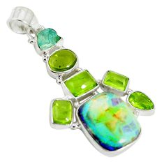 Clearance Sale- Multi color sterling opal apatite rough 925 silver pendant jewelry d17686