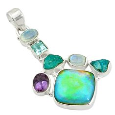 Clearance Sale- Multi color sterling opal apatite rough 925 sterling silver pendant d17709