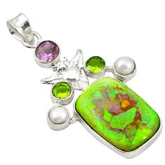 Clearance Sale- Multi color sterling opal amethyst 925 sterling silver owl pendant d17710