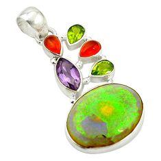 Clearance Sale- Multi color sterling opal cornelian (carnelian) 925 silver pendant d17713