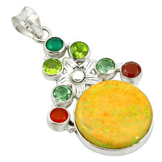 Clearance Sale- Multi color sterling opal chalcedony 925 sterling silver pendant jewelry d17718