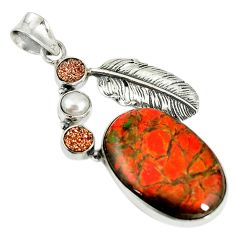 Natural multi color ammolite (canadian) druzy pearl 925 silver pendant d17724