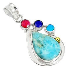 Clearance Sale- Natural blue larimar ruby lapis 925 sterling silver pendant jewelry d17751