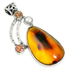 925 silver natural green amber from colombia druzy pearl pendant d17779